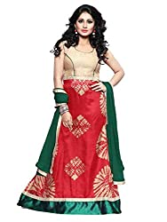 BanoRani Womens Red & Green Color Red Bhagalpuri Silk Batik Print UnStitched Gown with Dupatta