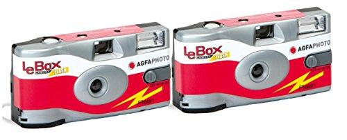 Agfa Photo LeBox 400 27 Flash Lot de 2 Appareils Photo jetables 35 mm Noir