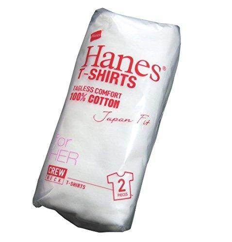 (ヘインズ)Hanes レディース ジャパンフィット Uネック 半袖 無地 2枚組 Tシャツ Lady's M WHITE(ホワイト)