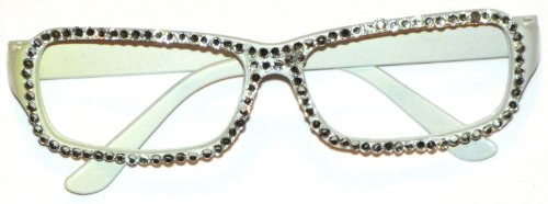 Accessories Fashion White Rectangle Frame Glasses With Rhinestones