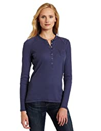 Dickies Women\'s Long Sleeve Rib Henley Shirt, Slate Blue, Large