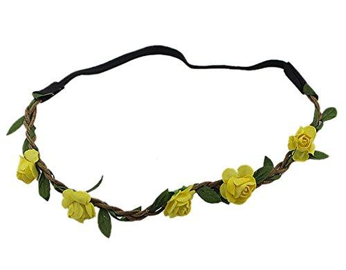 BONAMART--10-x-Festival-Hippie-Geflochten-Haarband-Blumen-Bltter-Stirnband-fr-Damen-Mdchen