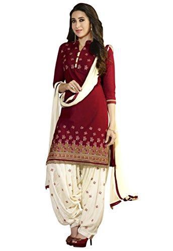 Banorani-Womens-Cotton-Patiala-Salwar-K-14131MaroonCreamFree-Size