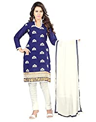Yehii Women's Chanderi Blue Plain / Solid dress material Unstitched Salwar Kameez Dupatta for women party wear low price Below Sale Offer