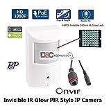 1080P 2.0MP HD IP PoE/12VDC Hidden/Spy Security Camera with: 3.7mm Lens 48x 940nm Invisible IR LEDs, ONVIF, PIR Motion Detector Sensor Form Factor