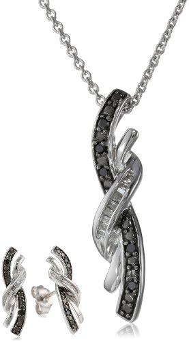 Sterling Silver Black and White Diamond Twist Shape Pendant and Earrings Box Set (1/6 Cttw, I-J Color, I2-I3 Clarity), 18