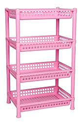 Logic Deluxe 4 Shelf Storage Rack - Pink