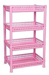 Logic Deluxe 4 Shelf Storage Rack - Pink