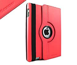 SANOXY 360 ROTATING Slim Smart Wakeup & Sleep Folder PU Leather Stand Case for iPad 2/3/4 (RED)