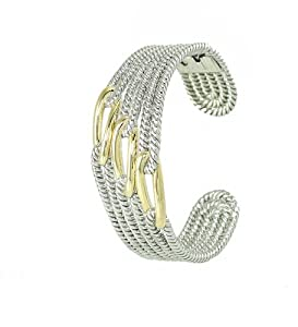 2 Tone Silver Rhodium Plated Designer-style Cable Rope Cuff Bracelet