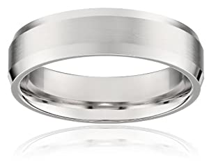 Men's Platinum Flat Comfort-Fit Wedding Band with Satin Center and High-Polish Beveled Edges (6 mm), Size 11