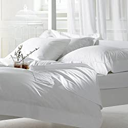 Linenwalas 300 TC King Size Cotton Double Bedsheet with 2 Pillow Covers- Solid White(100