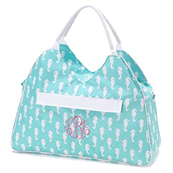 "Water Resistant Beach Bag with Inside Lining and Easy to Carry Top Handle - 22"" Length (Aqua Seahorse)"