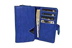 TOTTA PU Leather Wallet Pouch with Card Holder For ZTE Blade Qlux 4G - Blue