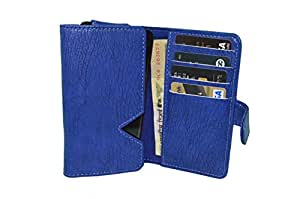TOTTA PU Leather Wallet Pouch with Card Holder For Oppo R7 - Blue