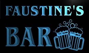 w134302-b FAUSTINE'S Nom Accueil Bar Pub Beer Mugs Cheers Neon Sign Biere Enseigne Lumineuse
