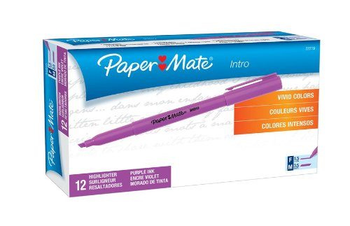 Paper Mate Intro Micro Chisel Tip Highlighters, 12 Purple Highlighters (22719)