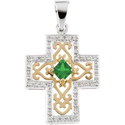 14K Two-Tone Gold Tsavorite and Diamond Anniversary Cross Pendant - 22.00x18.50mm