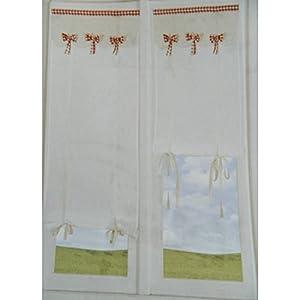 Coppia tendine confezionate per vetro finestra anika for Tendine a vetro confezionate