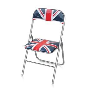 chaise pliante en me 39 tal et pvc 6 pcs anglais drapeau impression. Black Bedroom Furniture Sets. Home Design Ideas