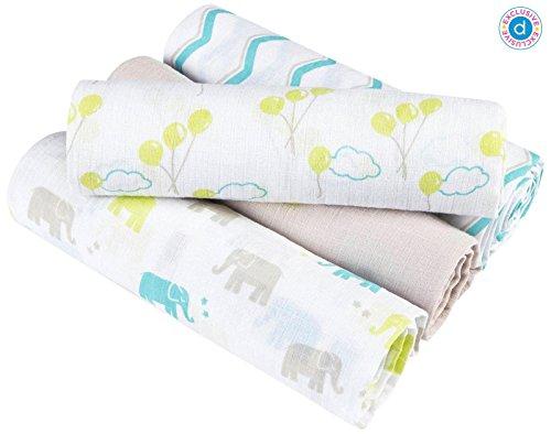 aden + anais (aden) for Diapers.com Swaddle Wrap 4 Pk - Cotton Muslin - Ellie Star - 1