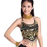 ZLTdream Lady's Belly Dance Chiffon Banadge Top With Chest  bells and coins