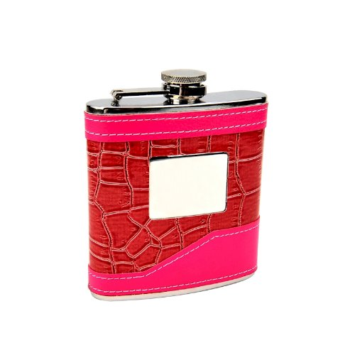 Personalised Engraved 6oz Pink Two Tone Ladies Hip Flask, Wedding Gift, Bridesmaid, Free Engraving