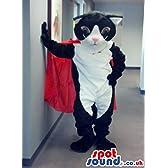 レッドケープと白い腹かわいい黒猫ぬいぐるみSPOTSOUND LTDマスコット衣装
