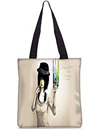 Snoogg Painted Girls Digitally Printed Utility Tote Bag Handbag Made Of Poly Canvas