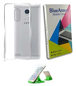 BlueArmor Soft Silicone Back Cover Case Fo Reliance Lyf Water 7 - Transparent & Mobile Stand