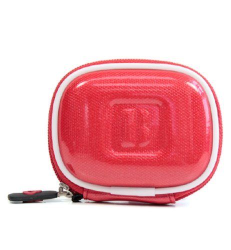 - Red Color With White Trim Premium Hi-Tech Design Bluetooth Head Set Pouch Carrying Case For Plantronics M55 M25 Marque 2 M165 K100 M100 Explorer 395 Hands-Free Head-Set (+ 1Pc Name Tag) -- Best Seller On Amazon! (Important Note: Color Of The Actual Item