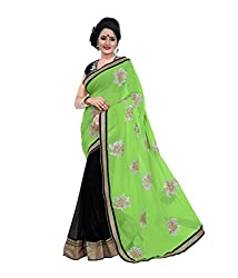 Pragati fashion Hub Green Faux Chiffon Saree