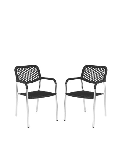 Safavieh Set of 2 Sitka Arm Chairs, Black