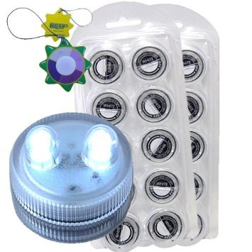 Hqrp 20-Pack Super Bright White 6000K Waterproof / Underwater Dual Led Illuminated Submersible Flameless Heatless Tea Light Candles For Wedding / Events / Holiday / Party / Floral Decoration / Art Project / Light Show + Hqrp Uv Meter