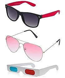 Hrinkar Wayfarer Grey Lens Black Frame, Aviator Red Lens Silver Frame & Paper 3D Glass - HCMB406