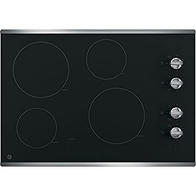 """GE JP3030SJSS 30"""" Electric Cooktop with 4 Cooking Elements in Stainless Steel"""