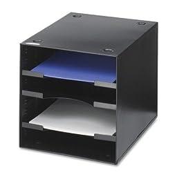 Steel Desktop Sorter, Four Compartments, Steel, 11 x 12 x 10, Black