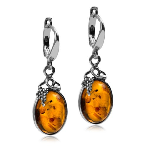Certifed Genuine Amber Sterling Silver Classic Small Grape Leaves Leverback Earrings