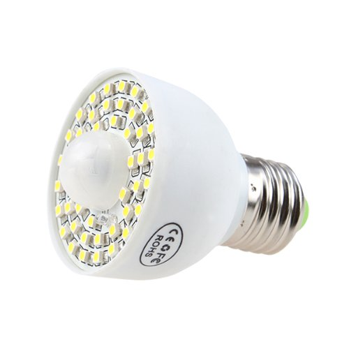 Image® Pure White 3.5W 45 Led E27 Pir Infrared Ir Motion Sensor Light Lamp Bulb 340Lm