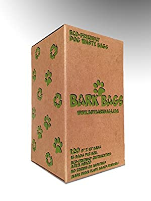 """Bark Bags Eco-Friendly Dog Waste Bags ✮ Environmentally Friendly Dog Poop Bags ✮ Large Size 9"""" x 13"""" ✮ Made From Plant Based Materials ✮ Strong, Sturdy and Durable Poop Bags ✮ 100% Money Back Guarantee"""