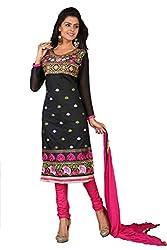 Khushali Women Chanderi Unstitched Salwar Suit (Black)