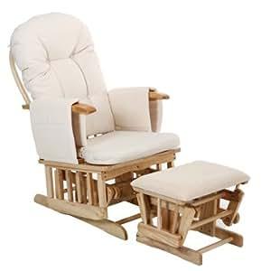 Deluxe Recliner Glider Nursing Nursery Feeding Chair & Stool - Cream ...