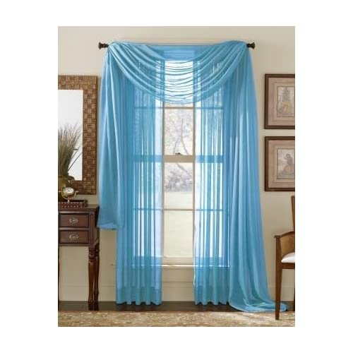 63 Long Sheer Curtain Panel Neon Blue Aqua Teal Window Treatment Sheers