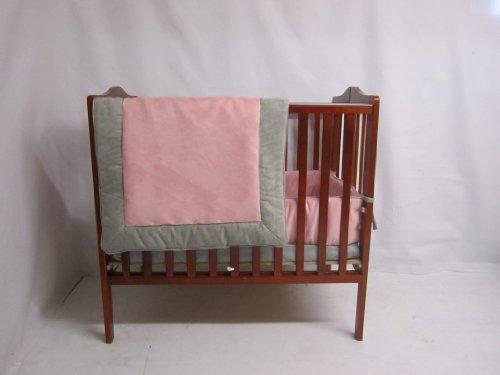 Baby Doll Bedding Zuma Port-A-Crib Bedding Set, Grey/Pink