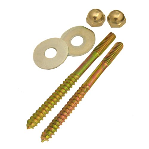 Lasco 04-3613 Toilet Screws with Brass Plated 1/4-Inch by 3-1/2-Inch with Nuts and Washers