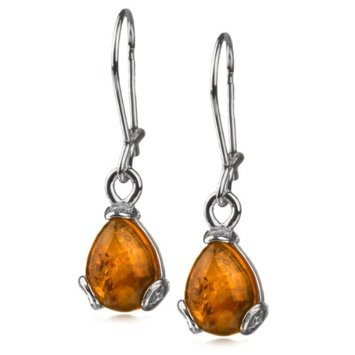 Sterling Silver Honey Amber Drop Earrings