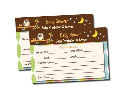 Owl Themed Baby Shower Advice & Prediction Cards for Mom Games (50-cards) - 1