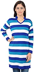 Misstress Women's V-Neck Tunic (502 ROYAL BLUE_Blue_X-Large)