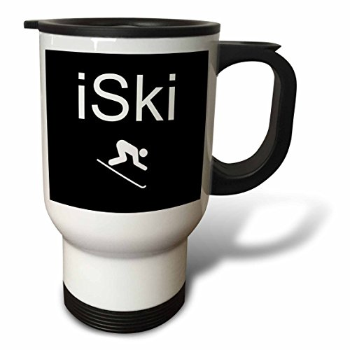 3dRose tm_180057_1 Iski, White Lettering on Black Background with Picture of Skier Stainless Steel Travel Mug, 14-Ounce (Skiing Coffee Cup compare prices)