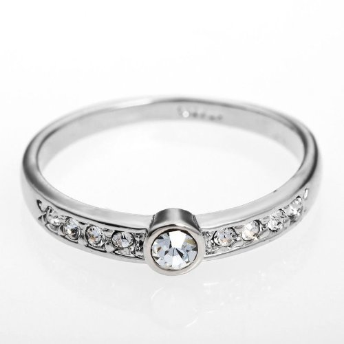 Arinna 18K Wgp Simple Wedding Engagement Finger Ring Round Clear Swarovski Crystal